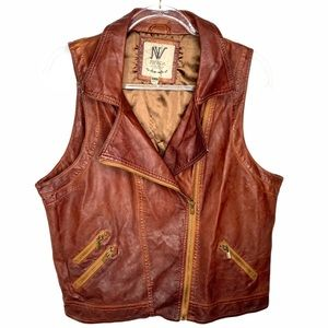 Vegan Cognac coloured faux leather vest